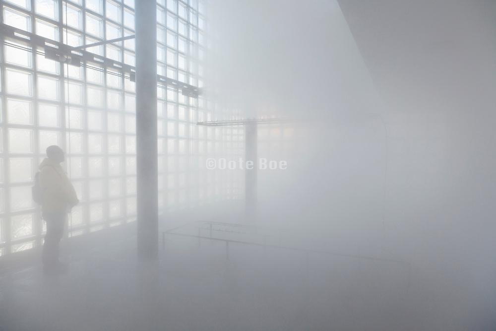 art installation Glacial Fogfall by Fujiko Nakaya at Maison Hermès in Ginza Tokyo