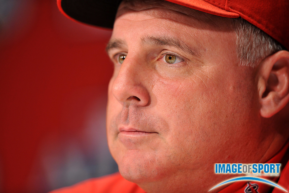 Sep 30, 2008; Anaheim, CA, USA; Los Angeles Angels manager Mike Scioscia (14) at press conference at Angel Stadium.