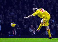 Photo: Alan Crowhurst.<br />West Ham v Liverpool. The Barclays Premiership. 30/01/07. Liverpool's Dirk Kuyt opens the scoring 0-1.