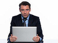 one caucasian man businessman holding  laptop computer looking at camera computing cheerful isolated studio isolated on white background