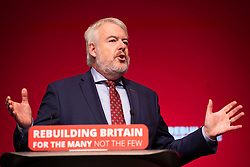 © Licensed to London News Pictures. 24/09/2018. Liverpool, UK. First Minister for Wales Carwyn Jones delivers his final speech to the Labour Party Conference. Jones is to stand down as First Minister for Wales. Photo credit: Rob Pinney/LNP