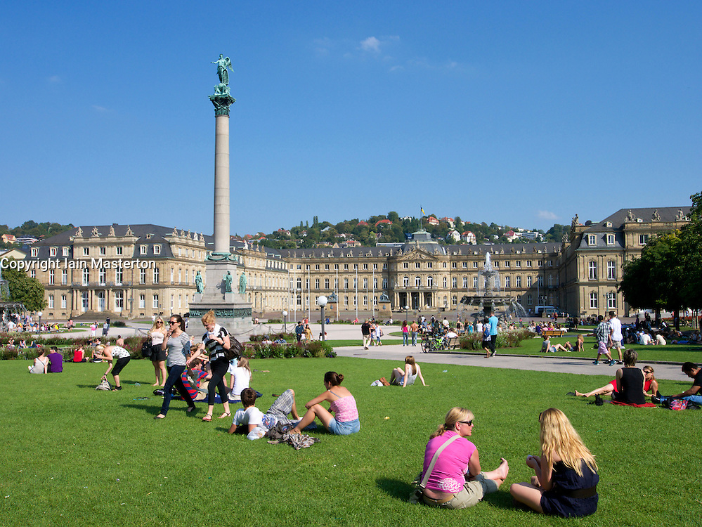 Busy summer afternoon on Schlossplatz in Stuttgart in Germany