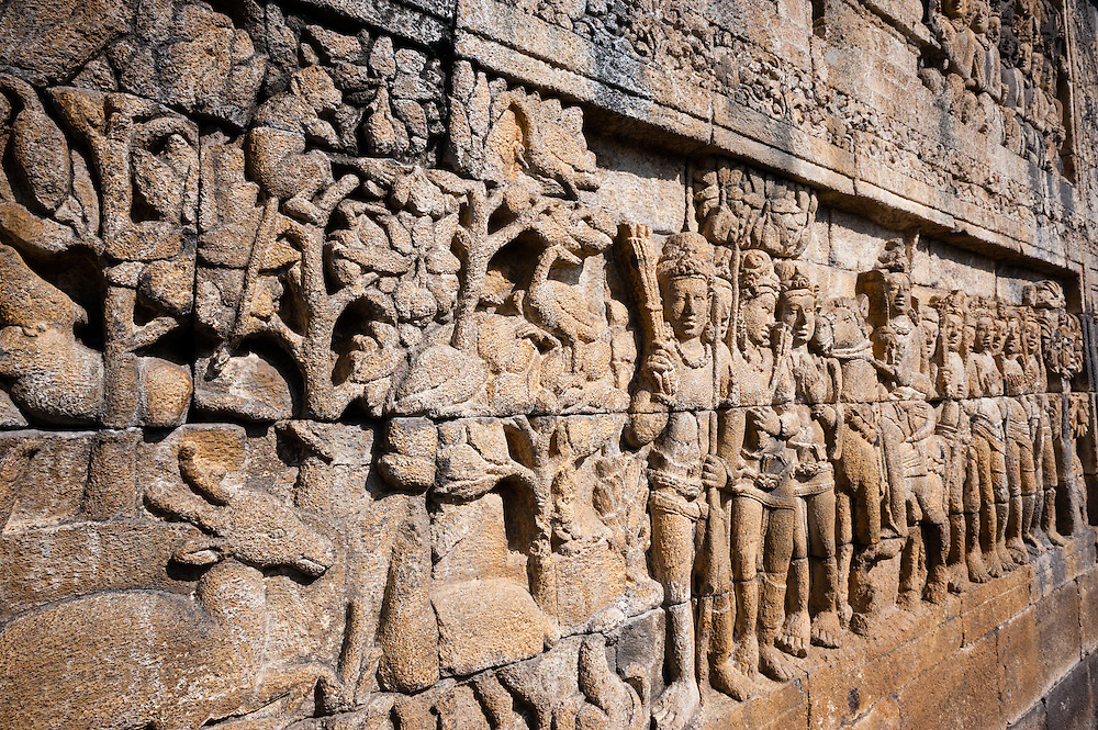 Carvings in Borobudur Temple in Java (Indonesia)