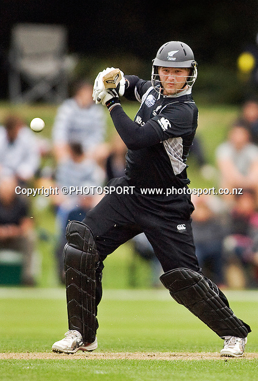 New Zealand batsman during his innings of 21. New Zealand v Australia, U19 Cricket World Cup Quarter Final, Mainpower Oval, Rangiora, Sunday 24 January 2010. Photo : Joseph Johnson/PHOTOSPORT