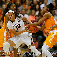 Oregon State's Kolbie Orum, left, fight Tennessee's Diamond DeShields for the ball in the first half of an NCAA college basketball game, in Corvallis, Ore., on Saturday, Dec. 19, 2015. (AP Photo/Timothy J. Gonzalez)