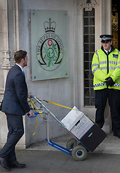 © Licensed to London News Pictures. 06/12/2016. London, UK. Documents arrive at the Supreme Court on the second day of a hearing to appeal against a November 3 High Court ruling that Article 50 cannot be triggered without a vote in Parliament. Photo credit: Peter Macdiarmid/LNP