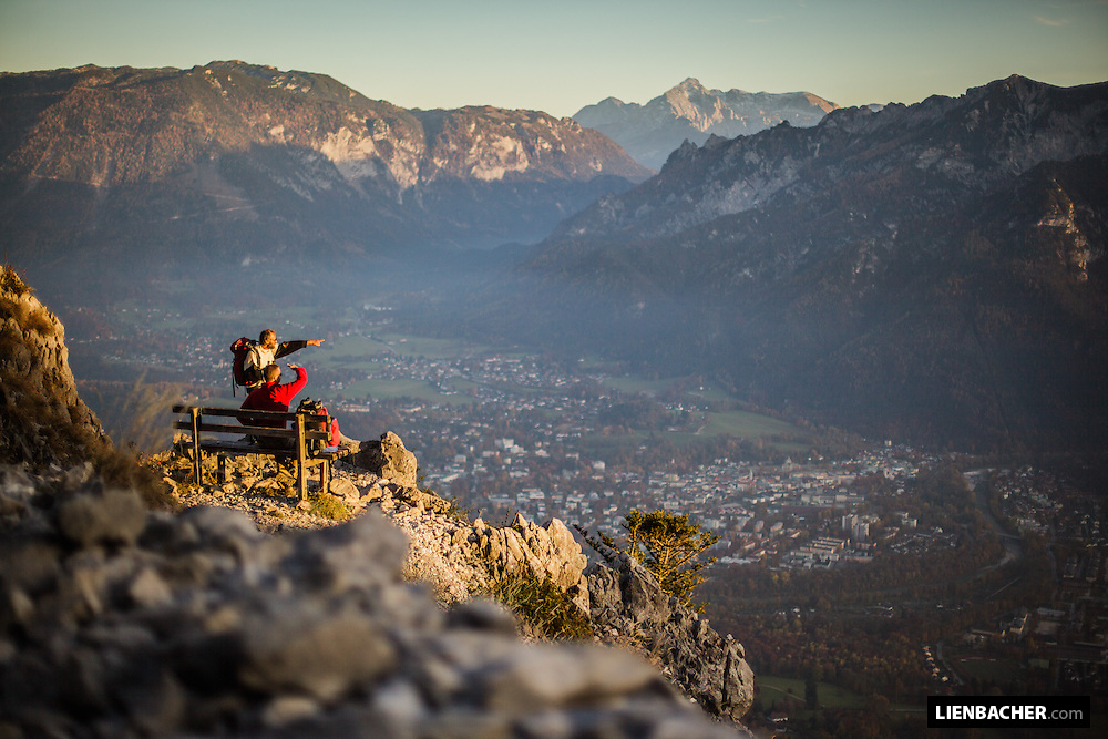 hikers enjoying the view while hiking the Staufen in Bad Reichenhall.