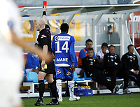 Fotball, 6. juni  2010 , Tippeligaen , eliteserien<br /> Sandefjord - Stabæk 1-1<br /> dommer Dag Hafsås gir Malick Mane rødt kort<br /> <br /> <br /> Foto: Anders Hoven , Digitalsport
