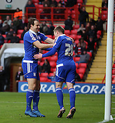 Ipswich striker Freddie Sears celebrating scoring during the Sky Bet Championship match between Charlton Athletic and Ipswich Town at The Valley, London, England on 28 November 2015. Photo by Matthew Redman.