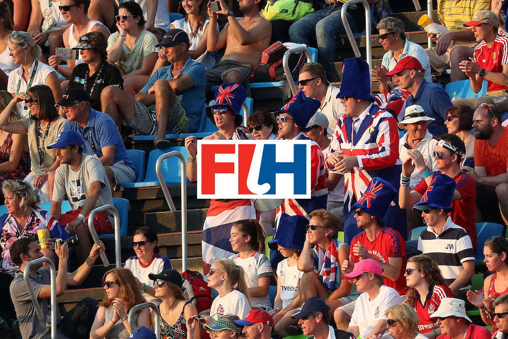 RIO DE JANEIRO, BRAZIL - AUGUST 17:  Great Britain fans show there support during the Women's Semifinal match between New Zealand andGreat Britain on Day 12 of the Rio 2016 Olympic Games at the Olympic Hockey Centre on August 17, 2016 in Rio de Janeiro, Brazil.  (Photo by Rob Carr/Getty Images)