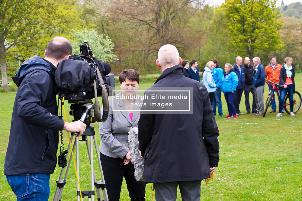 Pictured: Ruth Davidson<br /> <br /> Scottish Tory leader Ruth Davidson and Scottish Secretary David Mundell took to the campaign trail in West Linton today.<br /> <br /> Ger Harley | EEm 13 May 2017