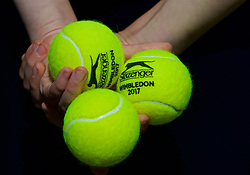 LIVERPOOL, ENGLAND - Saturday, June 17, 2017: Tennis balls during Day Three of the Liverpool Hope University International Tennis Tournament 2017 at the Liverpool Cricket Club. (Pic by David Rawcliffe/Propaganda)