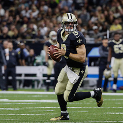 Aug 26, 2017; New Orleans, LA, USA; New Orleans Saints quarterback Drew Brees (9) looks to pass against the Houston Texans during the first quarter of a preseason game at the Mercedes-Benz Superdome. Mandatory Credit: Derick E. Hingle-USA TODAY Sports