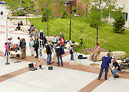 New Paltz, New York - People gather on the State University of New Paltz campus to watch the Transit of Venus through filtered telescopes on June 5, 2012. Venus crossed in front of the sun and was visible as a small black disk. The next Venus transit will not occur until 2117.