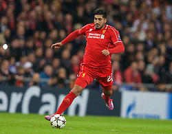 MADRID, SPAIN - Tuesday, November 4, 2014: Liverpool's Emre Can in action against Real Madrid during the UEFA Champions League Group B match at the Estadio Santiago Bernabeu. (Pic by David Rawcliffe/Propaganda)