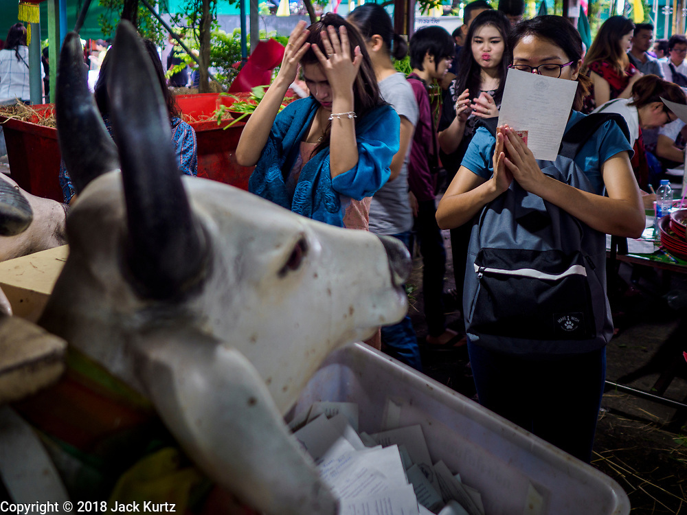 29 MAY 2018 - BANGKOK, THAILAND: during Vesak observances at Wat Hua Lamphong in Bangkok. Vesak is the Buddha's birthday, and one of the most important holy days in the Theravada Buddhist religion.        PHOTO BY JACK KURTZ