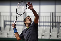 May 21, 2019 - Paris, France - Mizra Basic of BIH in action against Kiachi Uchida of JPN in the first round of Roland Garros qualifications in Paris, France, on 21 May 2019. (Credit Image: © Ibrahim Ezzat/NurPhoto via ZUMA Press)