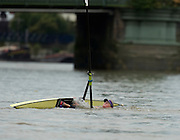 London, Great Britain, unfortunate Fran HOUGHTON after clipping a bouy before Hammersmith Bridge during the 2013 Wingfield Sculls title.  Chiswick, England<br /> <br /> <br />  Tuesday  08/10/2013 <br /> <br /> [Mandatory Credit. Peter Spurrier/Intersport Images]<br /> <br /> <br />  Tuesday  08/10/2013 <br /> <br /> [Mandatory Credit. Peter Spurrier/Intersport Images]