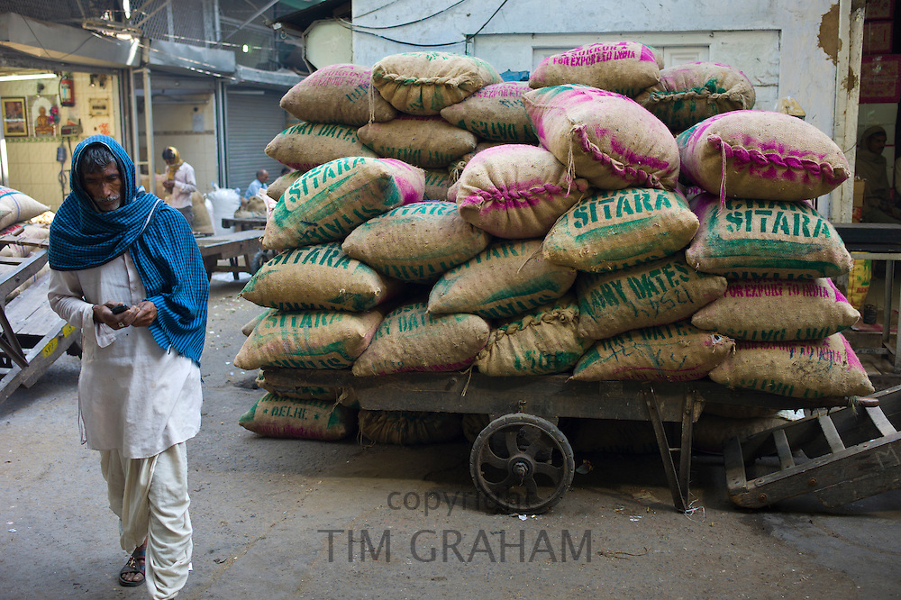 Sacks of dates at Khari Baoli Spice and Dried Foods Market in Old Delhi, India
