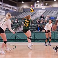 4th year libero  Taylor Ungar (13) of the Regina Cougars in action during Women's Volleyball home game on February 2 at Centre for Kinesiology, Health and Sport. Credit: Arthur Ward/Arthur Images