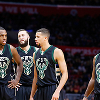 16 December 2015: Milwaukee Bucks guard Khris Middleton (22), Milwaukee Bucks center Miles Plumlee (18), Milwaukee Bucks guard Michael Carter-Williams (5) and Milwaukee Bucks guard O.J. Mayo (3) are seen during the Los Angeles Clippers 103-90 victory over the Milwaukee Bucks, at the Staples Center, Los Angeles, California, USA.