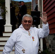 Former Greenland Prime Minister Jonathan Motzfeldt outside the Cathedral Annaassisitta Oqaluffia, Nuuk, on National Day, celebrating Self Governance.  From June 21 2009, Greenland moves from being under 'home rule' to 'self-governance' in a ceremony attended by the Danish Royal family and other heads of state. Motzfeldt is currently president of the West Greenland Council