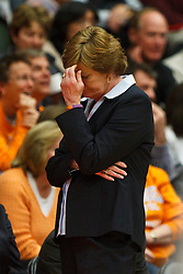 Dec 20, 2011; Stanford CA, USA;  Tennessee Lady Volunteers head coach Pat Summitt reacts to a call during the second half against the Stanford Cardinal at Maples Pavilion.  Stanford defeated Tennessee 97-80. Mandatory Credit: Jason O. Watson-US PRESSWIRE