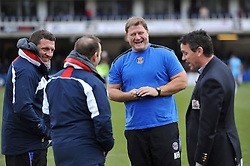 Bath Rugby coaches Toby Booth, Darren Edwards, Neal Hatley and Mike Ford share a joke during the pre-match warm-up - Photo mandatory by-line: Patrick Khachfe/JMP - Mobile: 07966 386802 25/01/2015 - SPORT - RUGBY UNION - Bath - The Recreation Ground - Bath Rugby v Glasgow Warriors - European Rugby Champions Cup