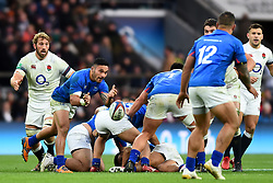 November 25, 2017 - London, England, United Kingdom - Dwayne Polataivao of Samoa passes from the ruck during Old Mutual Wealth Series between England against Samoa at Twickenham stadium , London on 25 Nov 2017  (Credit Image: © Kieran Galvin/NurPhoto via ZUMA Press)