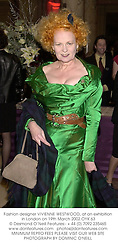 Fashion designer VIVIENNE WESTWOOD, at an exhibition in London on 19th March 2002.OYK 63