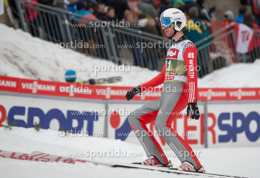 03.01.2015, Bergisel Schanze, Innsbruck, AUT, FIS Ski Sprung Weltcup, 63. Vierschanzentournee, Innsbruck, Qalifikations-Sprung, im Bild Daniel Wenig (GER) // Daniel Wenig of Germany reacts after his qualification jump for the 63rd Four Hills Tournament of FIS Ski Jumping World Cup at the Bergisel Schanze in Innsbruck, Austria on 2015/01/03. EXPA Pictures © 2015, PhotoCredit: EXPA/ Jakob Gruber