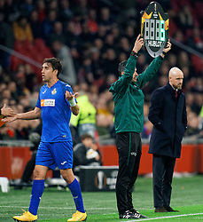 Fourth men show 6 minutes extra time, Erik ten Hag of Ajax in action during the Europa League match R32 second leg between Ajax and Getafe at Johan Cruyff Arena on February 27, 2020 in Amsterdam, Netherlands