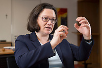 15 MAR 2018, BERLIN/GERMANY:<br /> Andrea Nahles, SPD Fraktionsvorsitzende, waehrend einem Interview, in ihrem Buero, Jakob-Kaiser-Haus, Deutscher Bundestag<br /> IMAGE: 20180315-01-012<br /> KEYWORDS: B&uuml;ro