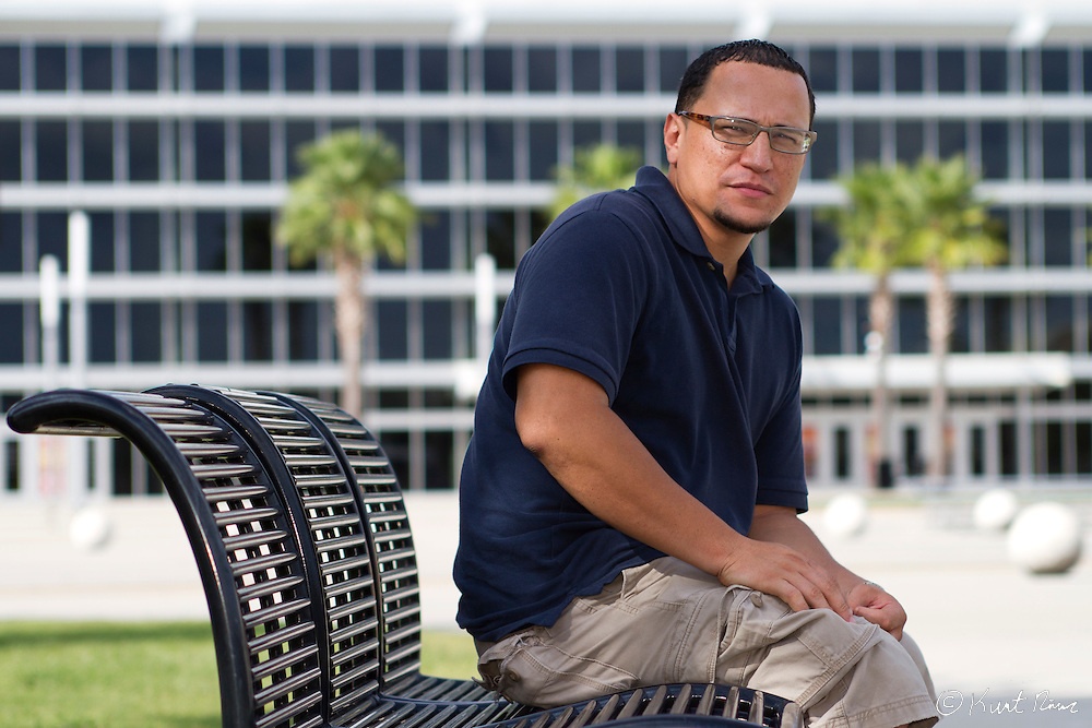 35 year old Luis Lebron, a Navy veteran and University of Central Florida student, is suing the state of Florida over a new law that requires welfare applicants to pass a drug test to receive benefits. Photo taken on the on the UCF campus in Orlando, FL on September 06, 2011. (Kurt Rivers/KnightNews.com)