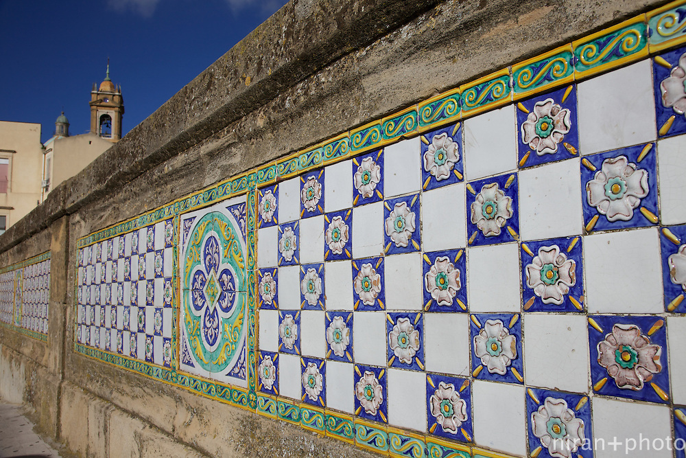 The ornate walls of Via Roma leading up to Duomo Di San Guiliano in Caltagirone. Caltagirone is known for some of the finest pottery in Sicily.