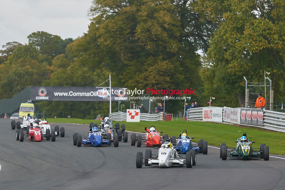 #16 David McArthur Van Diemen LA10 leads the field at the start of the Avon Tyres Formula Ford 1600 Northern Championship - Prost 89 Race 2 as part of the BRSCC Fun Cup Oulton Park 17th October 2015 at Oulton Park, Little Budworth, Cheshire, United Kingdom. October 17 2015. World Copyright Taylor/PSP. Copy of publication required for printed pictures.  Every used picture is fee-liable. http://archive.petertaylor-photographic.co.uk