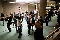 Nederland. Den Haag, 18 februari 2010.<br /> 22.40 uur, Bos op weg naar de ministerskamer. <br /> Spoeddebat in de Tweede Kamer over de ontstane crisissituatie binnen het kabinet over Uruzgan, daags voor de val van het vierde kabinet Balkenende.<br /> Foto Martijn Beekman