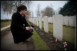 Baroness Sayeeda Warsi looks  at the grave of Staff Nurse Nellie Spindler, she was only one of 2 British Female Casualties of the First World War to be buried in Belgium at the Lijssenthoek Military Cemetery in Belgium. Sayeeda is visiting the graves of Commonwealth soldiers on the battlefields of France and Belgium as part of the UK Government's programme to commemorate the centenary of the First World War which starts next year, Wednesday  April 10, 2013. Photo By Andrew Parsons / i-Images