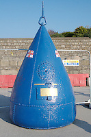 Giant sea bouy on Dun Laoghaire Pier in Dublin Ireland used for collecting funds for the Irish Lifeboats.