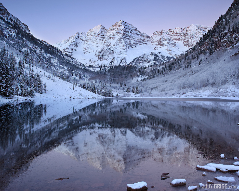 Dawn brings a cold and calm moment at Maroon Lake near Aspen on the last day of October. Visit the Colorado Fourteener Gallery to see more images of the Maroon Bells.