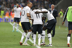June 1, 2018 - Paris, Ile-de-France, France - Ousmane Dembl (France) celebrates after scoring with teammates during the friendly football match between France and Italy at Allianz Riviera stadium on June 01, 2018 in Nice, France..France won 3-1 over Italy. (Credit Image: © Massimiliano Ferraro/NurPhoto via ZUMA Press)