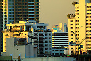 02 MAY 2013 - BANGKOK, THAILAND: A compressed telephoto lens photograph of some of the skyscrapers in Bangkok, Thailand at sunset.  PHOTO BY JACK KURTZ