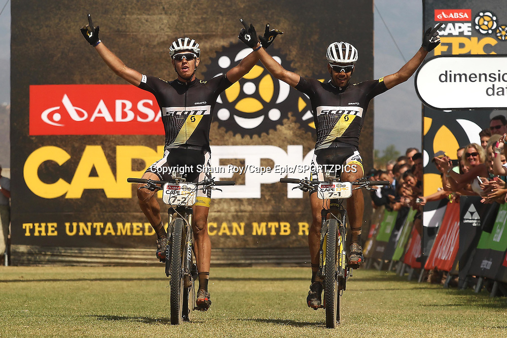 Matthys Beukes and Philip Buys of Scott Factory Racing celebrate winning the 111km Stage 4 during stage 4 of the 2015 Absa Cape Epic Mountain Bike stage race from HTS Drostdy in Worcester, South Africa on the 19 March 2015<br /> <br /> Photo by Shaun Roy/Cape Epic/SPORTZPICS<br /> <br /> PLEASE ENSURE THE APPROPRIATE CREDIT IS GIVEN TO THE PHOTOGRAPHER AND SPORTZPICS ALONG WITH THE ABSA CAPE EPIC