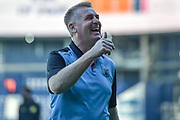 Aston Villa manager Dean Smith  smiles and gives a thumbs up during the EFL Sky Bet Championship play-off second leg match between West Bromwich Albion and Aston Villa at The Hawthorns, West Bromwich, England on 14 May 2019.