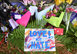 March 16, 2019 - Christchurch, New Zealand - Cards and flowers people placed to mourn the victims of the attacks on two Christchurch mosques. It was revealed that a 28-year-old Australian man conducted terrorist attacks targeting mosques in Christchurch and later was arrested by New Zealand Police. At least 49 people were killed and 48 are hospitalized now. (Credit Image: © Xinhua via ZUMA Wire)