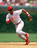 CHICAGO - 1993: Barry Larkin of the Cincinnati Reds fields during an MLB game against the Chicago Cubs at Wrigley Field in Chicago, Illinois during the 1993 season. (Photo by Ron Vesely).  Subject:   Barry Larkin