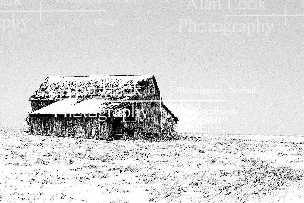 23 February 2008:  A dilapidated old red barn stands all alone on the prairie surrounded by the snow of winter and a bright blue sky<br /> <br /> This image was produced in part utilizing High Dynamic Range (HDR) or panoramic stitching or other computer software manipulation processes. It should not be used editorially without being listed as an illustration or with a disclaimer. It may or may not be an accurate representation of the scene as originally photographed and the finished image is the creation of the photographer.
