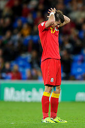 during the second half of the match - Photo mandatory by-line: Rogan Thomson/JMP - Tel: Mobile: 07966 386802 10/09/2013 - SPORT - FOOTBALL - Cardiff City Stadium - Cardiff -  Wales V Serbia- World Cup Qualifier.
