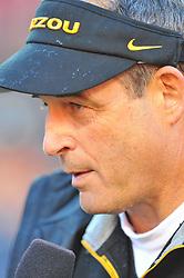 Nov 27, 2010; Kansas City, MO, USA; Missouri Tigers head coach Gary Pinkel speaks to media after the game against the Kansas Jayhawks at Arrowhead Stadium. Missouri won 35-7.  Mandatory Credit: Denny Medley-US PRESSWIRE