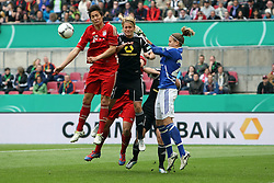 12.05.2012, Arena, Koeln, GER, DFB Pokal Damen, Finale, 1. FFC Frankfurt vs FC Bayern Muenchen, im Bild Saskia Bartusiak (Frankfurt) u. Torfrau Desiree Schumann (Frankfurt) retten vor Nicole Cross (Muenchen) // during final Football Match of German 'women DFB Pokal' between 1. FFC Frankfurt and FC Bayern Munich at Arena stadium, Cologne, Gemany on 2012/05/12. EXPA Pictures © 2012, PhotoCredit: EXPA/ Eibner/ Bildpressehaus..***** ATTENTION - OUT OF GER *****